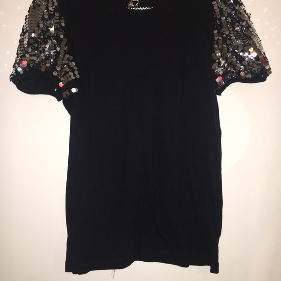 e097df32 Primark Tops | Black Tshirt With Silver Sequin Sleeves Sale | Poshmark
